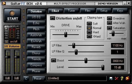 Пользовательские настройки в Guitar FX Box