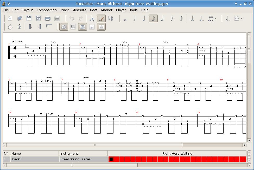 Бесплатный редактор табулатур TuxGuitar